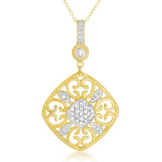 Collette Z Sterling Silver Mini Cubic Zirconia With Gold Pendant - White
