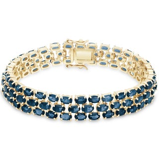 Dolce Giavonna Gold Over Sterling Silver London Blue Topaz 3-row Bracelet