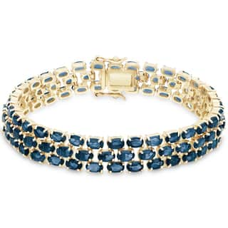 Dolce Giavonna Gold Over Sterling Silver London Blue Topaz 3-row Bracelet|https://ak1.ostkcdn.com/images/products/10996545/P18016304.jpg?impolicy=medium