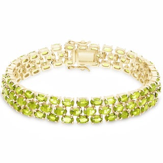 Dolce Giavonna Gold Over Sterling Silver Peridot Three Strand Bracelet