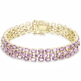 Dolce Giavonna Gold Over Sterling Silver Gemstone Three Strand Bracelet