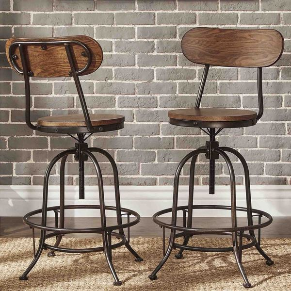 Nice Industrial Counter Height Stools Part - 3: Berwick Iron Industrial Adjustable Counter Height High Back Stools (Set Of  2) By INSPIRE