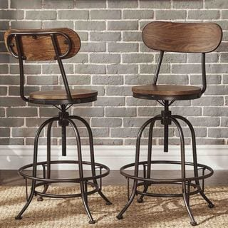 Berwick Iron Industrial Adjustable Counter Height High Back Stools (Set of 2) by iNSPIRE Q Classic