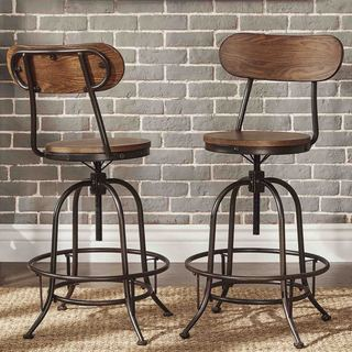Berwick Iron Industrial Adjustable Counter Height High Back Stools (Set Of  2) By INSPIRE