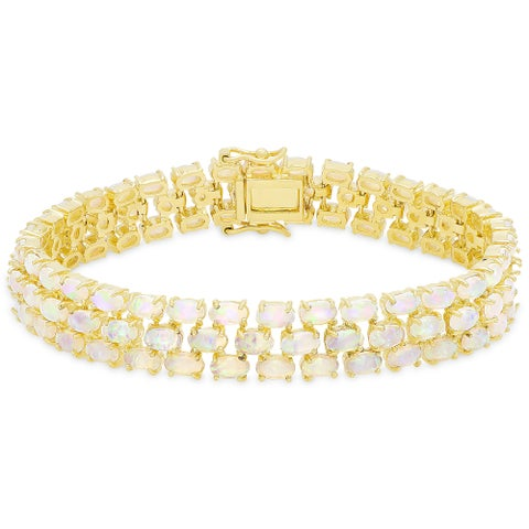 Dolce Giavonna Gold Over Sterling Silver Simulated Opal Three Strand Bracelet