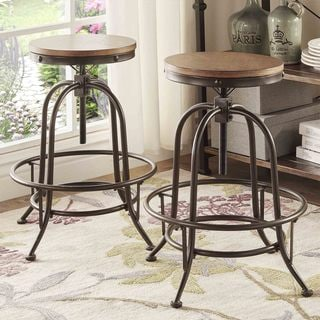 Berwick Iron Adjustable Round Backless Stool (Set of 2) by iNSPIRE Q Classic