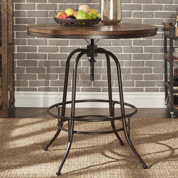 Berwick Iron Industrial Round 36   42 Inch Adjustable Counter Height Table  By INSPIRE