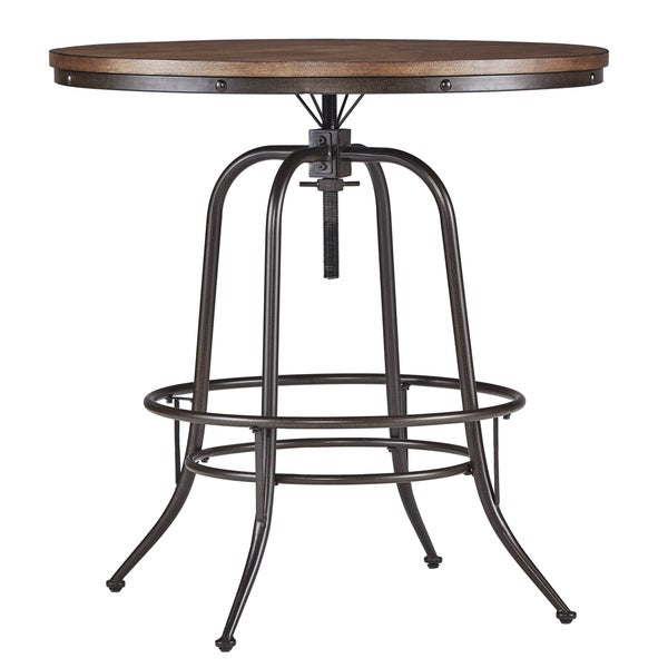 Berwick Iron Industrial Round 36   42 Inch Adjustable Counter Height Table  By INSPIRE Q Classic   Free Shipping Today   Overstock.com   18016301
