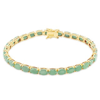Dolce Giavonna Gold Over Sterling Silver Emerald Tennis Bracelet