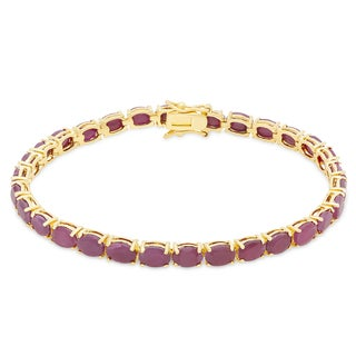 Dolce Giavonna Gold Over Sterling Silver Ruby Tennis Bracelet