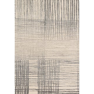 "Alexander Home Brently Ivory/ Grey Modern Abstract Rug - 5'3"" x 7'7"""