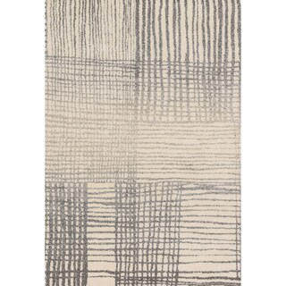 Brently Ivory/ Grey Abstract Rug (5'3 x 7'7)