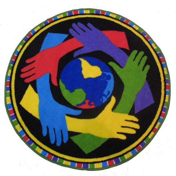 """Hands Around the World Accent Rug (3'3"""" Round) - 3'3"""" Round"""