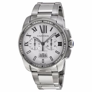 Cartier Men's W7100045 Calibre De Cartier Chronograph Silver Watch