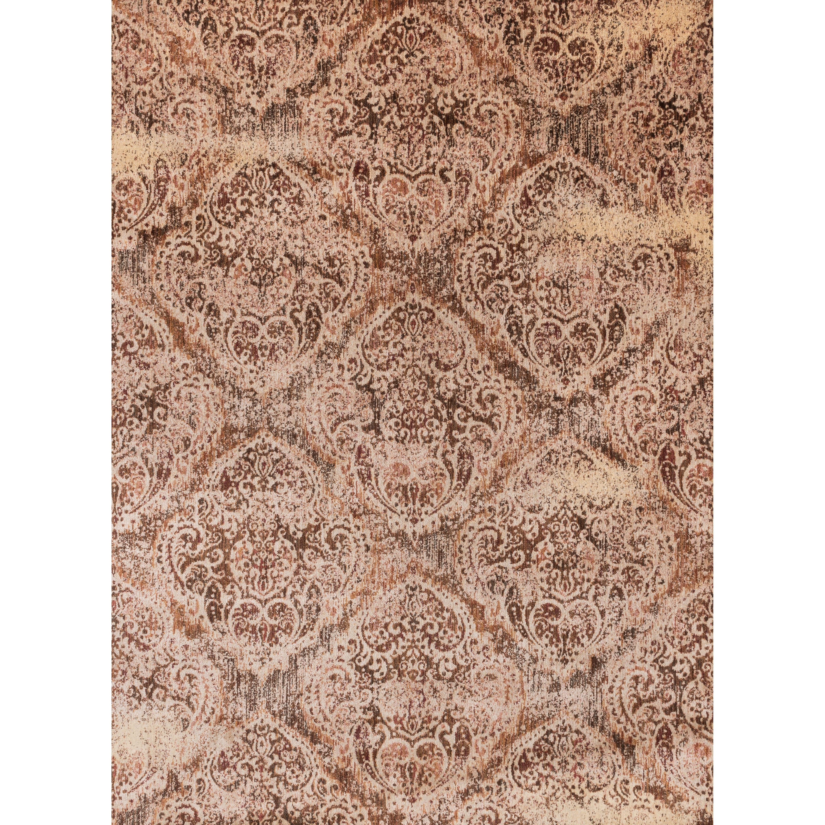 Traditional Brown/ Antique Ivory Distressed Rug - 67 x 92 (Tobacco/Ivory - 67 x 92)