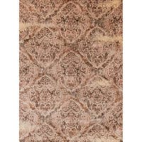 Traditional Brown/ Antique Ivory Distressed Rug - 6'7 x 9'2