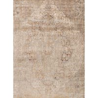 Traditional Beige/ Grey Medallion Distressed Rug - 13' x 18'