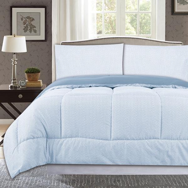 All Season Reversible Herringbone Print to Solid Down Alternative Box Stitch Comforter