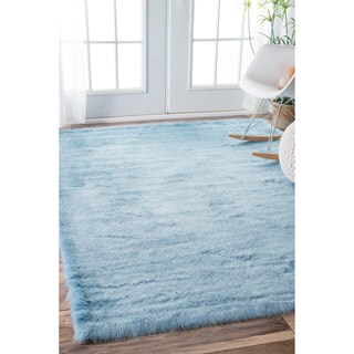 nuLOOM Cozy Soft and Plush Faux Sheepskin Shag Kids Nursery Blue Rug (7'6 x 9'6)
