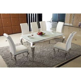Macan 7 PC Dining Set - White Faux Leather Polyurethane