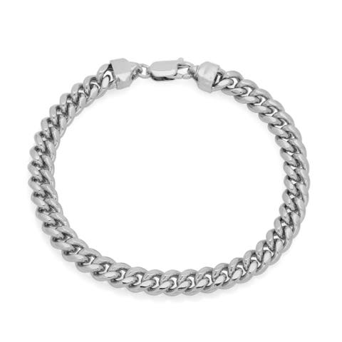 Sterling Essentials Silver 5 mm Miami Cuban Link Bracelet ( 7 Inch )
