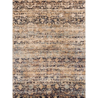 """Traditional Sand/ Multi Floral Distressed Rug - 6'7"""" x 9'2"""""""