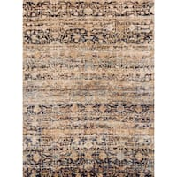 Traditional Sand/ Multi Floral Distressed Rug - 6'7 x 9'2