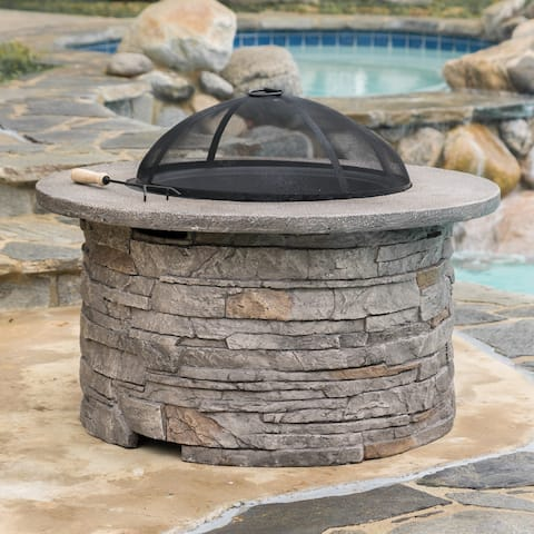 Channing Outdoor Natural Stone Fire Pit by Christopher Knight Home