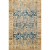 Traditional Blue/ Gold Floral Distressed Rug - 2'7 x 4'