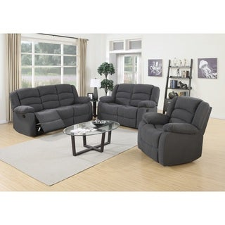 Vali Contemporary 3 Piece Fabric Reclining Sofa Set