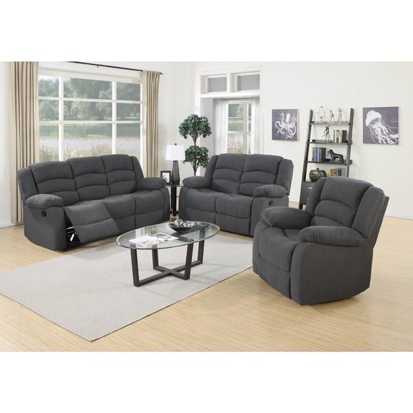 shop vali contemporary 3-piece fabric reclining sofa set - free