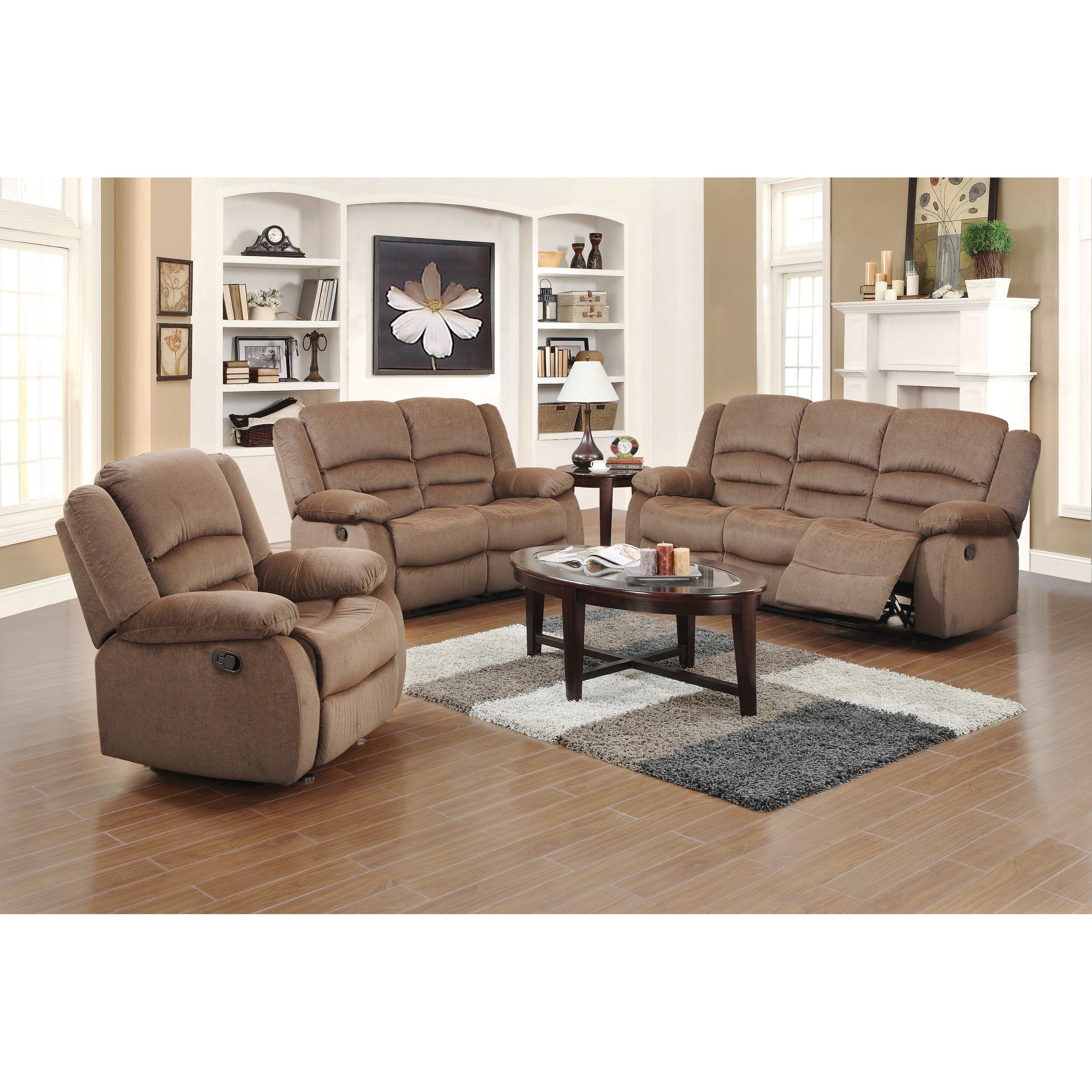 Awesome Dallas 3 Piece Fabric Reclining Sofa Set Ncnpc Chair Design For Home Ncnpcorg