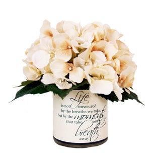 "9"" Cream Hydrangea Silk Floral In Quote Embellished Vase"