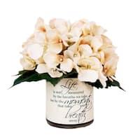 Cream Hydrangea Silk Floral in Quote Embellished Vase