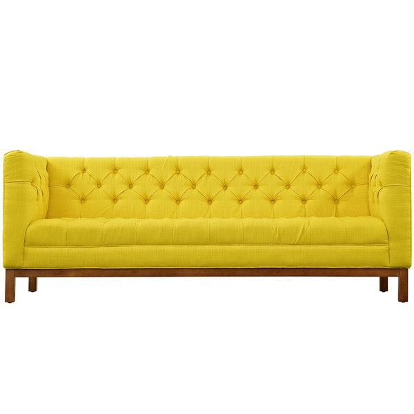 Nice Panache Tufted Fabric Sofa With Clean Lines And High Arm Rests   Free  Shipping Today   Overstock.com   18016484