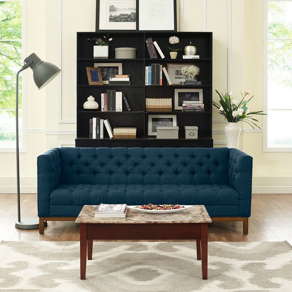 Panache Tufted Fabric Sofa With Clean Lines And High Arm Rests