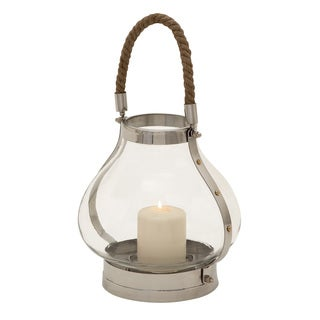 Bay Collection 11-inch Lantern Polished Stainless Steel Pillar Candle Holder