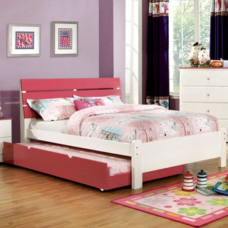 Furniture of America Piers Two-tone Pink/White Slatted Platform Bed