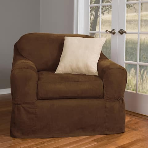 Piped Suede 2-piece Chair Slipcover Discontinued