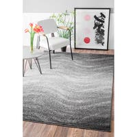 nuLOOM Contemporary Ombre Waves Grey Rug (8'6 x 11'6) (As Is Item)