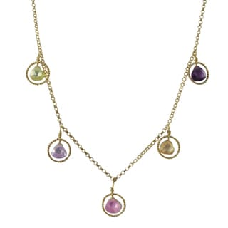 Luxiro Gold Filled Multi-color Cubic Zirconia Floating Circle Station Necklace