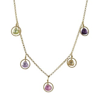Luxiro Gold Filled Multi-color Cubic Zirconia Floating Circle Station Necklace - Pink