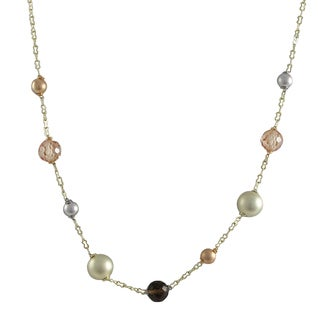 Luxiro Tri-color Gold Finish Champagne Cubic Zirconia Ball Necklace