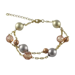 Luxiro Tri-color Gold Finish Champagne Cubic Zirconia Ball Two-row Bracelet