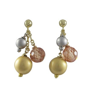 Luxiro Gold and Rhodium Finish Champagne Cubic Zirconia Ball Earrings