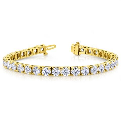Annello by Kobelli 10k Yellow Gold 16 1/2 Carats TGW Moissanite (HI) Tennis Bracelet