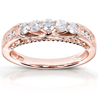 Annello by Kobelli 14k Rose Gold 1/2ct TDW Round-cut Diamond Band