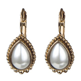 Brass Gold Monarchial Pearl Droplet Earrings