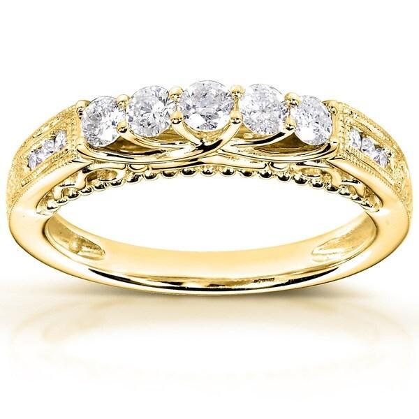 Annello by Kobelli 14k Yellow Gold 1/2ct TDW Round-cut Diamond Band
