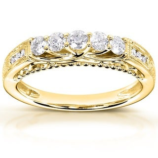 Annello by Kobelli 14k Yellow Gold 1/2ct TDW Round-cut Diamond Band (H-I, I1-I2)